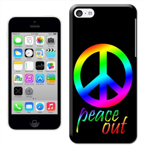 Fancy A Snuggle 'Peace Out Symbol in Rainbow Gay Lesbian Pride Colours' Hard Case Clip On Back Cover für Apple iPhone 5 C Peace Out Symbol