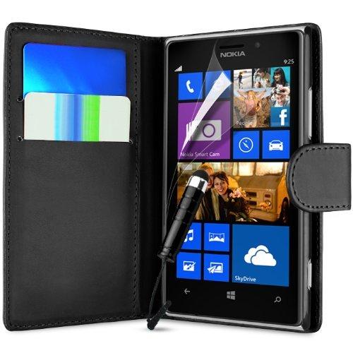 NWNK13 (schwarz) Nokia Lumia 930 im Brieftaschenstil Premium Kunstlederhülle Sylus Pen Mini Plus, Displayschutzfolie & Reinigungstuch