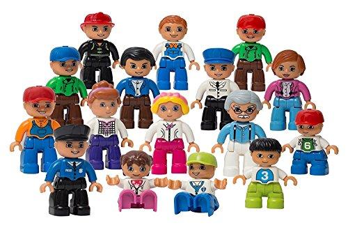 Play Build Community Figures Set - 16 Stück - Bulk Starter Kit beinhaltet Polizei Man, Farmer, Feuerwehrmann, Dirigent, Mama, Papa, Opa, Kinder & mehr - Kompatibel mit LEGO DUPLO Bausteinen (Menschen Set Lego)