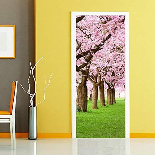 3D Wandaufkleber Aufkleber An Der Tür Selbstklebende Gebäude Kirschbaum Für Türen Drucken Kunst Bild Home Decor Wandbild Kleiderschrank Renovierung Aufkleber