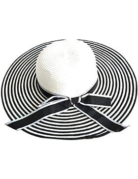 PREMYO Pamela mujer con rayas en color negro y blanco. Elegante sombrero de paja bicolor con ala ancha. Grande...