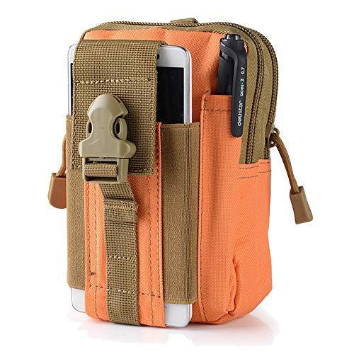 Tactical Taille Gürteltasche | Universal Handy Tasche Gadget Pocket Geldbörse (Outdoor EDC Militär Holster für iPhone X 8766S Plus Samsung Galaxy S8S7S6S5, Orange Gadget-holster