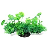 Beetest-Plastic Artificial Water Plant Fish Tank Aquarium Landscape Decoration Ornament with Thick Grass Lotus Leaves