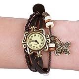 Jago Vintage Damen-Armbanduhr | Damenuhr mit geflochten Wickelarmband | Analoges Quarzwerk Armbanduhr mit Anhänger und Holzperlen