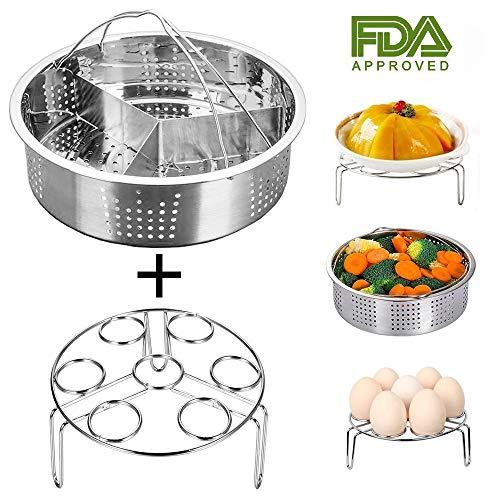 Jslai Instant Pot Zubehör Steamer Korb mit Egg Steamer Rack, Teiler, Passt Instant Pot 5,6,8 QT...