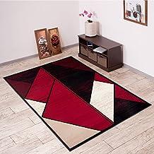 Alfombra De Salón Moderna – Color Negro Rojo De Diseño Geométrico – Suave – Fácil De Limpiar – Top Precio – Diferentes Dimensiones S-XXXL 120 x 170 cm