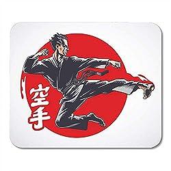 Mauspad Karate Air Kick Martial Arts Inschrift Auf Ist Hieroglyphen Der Japanischen Decor Office Mousepad Gaming Mouse Pad Rutschfeste Mauspad 25X30Cm Gummi-Träger