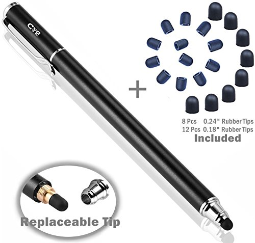 B & D Stylus Stylet Stylo Écran Tactile Capacitif Métal + 20 Embouts de Rechange pour Apple iPad, iPhone, iPod, Tablette, Samsung Galaxy (Noir)