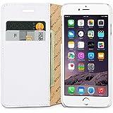 """StilGut Talis mit Standfunktion, schlanke Schutz-Hülle für iPhone 6s (4.7"""") mit Kreditkarten-Fächern aus echtem Leder. Seitlich aufklappbares Flip Case in Handarbeit gefertigt für das Original Apple iPhone 6s (4.7""""), weiß"""