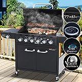 broil-master Barbecue à Gaz | 6 Brûleurs Principaux + 1 Latéral, en Acier, avec Thermomètre et roulettes, 150/107,5/55,5 cm, Noir | BBQ Gaz, Barbecue Gaz Plancha
