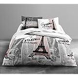 Today HC3algodón 57hilos Enjoy Vintage Paris juego de cama 2personas Enjoy dibujo Vintage Paris funda de edredón de 220x 240cm + 2fundas de almohada 63x 63cm algodón color blanco y gris 240x 220cm
