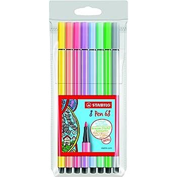 STABILO Pen 68 - Pochette de 8 feutres pointe moyenne - Couleurs pastel