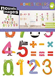 STICKERS MURAUX DECORATION ENFANT * LES OPERATIONS ANIMAUX CHIFFRES * 2 PLANCHES ADHESIFS DECO