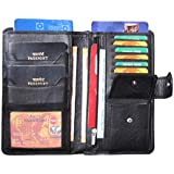 ABYS Genuine Leather Black Unisex Business Card Case||Passbook Cover||Card Holder||Travel Wallet with Button Closure
