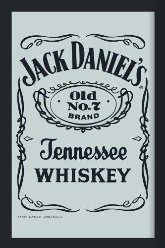 Logo Jack (empireposter - Jack Daniels - Logo 2 - Größe (cm), ca. 20x30 - Bedruckter Spiegel, NEU - Beschreibung: - Bedruckter Wandspiegel mit schwarzem Kunststoffrahmen in Holzoptik -)