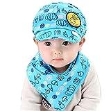 Oyedens, set berretto con visiera parasole e bavaglino bianco Blue 24 mesi