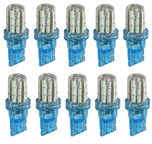AERZETIX: 10 Ampoule T10 W5W 12V 24LED SMD Silica Gel Bleu Ciel veilleuses éclairage intérieur seuils de Porte plafonnier Pieds Lecteur de Carte Coffre Compartiment Moteur C41085