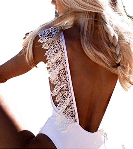 LCLrute Qualitäts Weiß One Piece Frauen V-Ausschnitt Sexy Lace Bikini Monokini Badeanzug Bademode Bade Beachwear (L) (Monokini Lace)