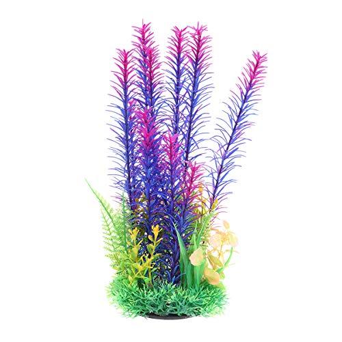 POPETPOP Aquarienpflanzen Kunststoff-Künstliches Aquarium Ornament Wasserpflanze Fisch Unterwasserpflanzen Aquarium Kunststoff Dekoration-Lila -