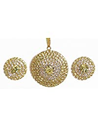 DollsofIndia White Stone Studded Pendant And Earrings(Pendant - 1.5 & 0.75 In) (AS85-mod) - Yellow