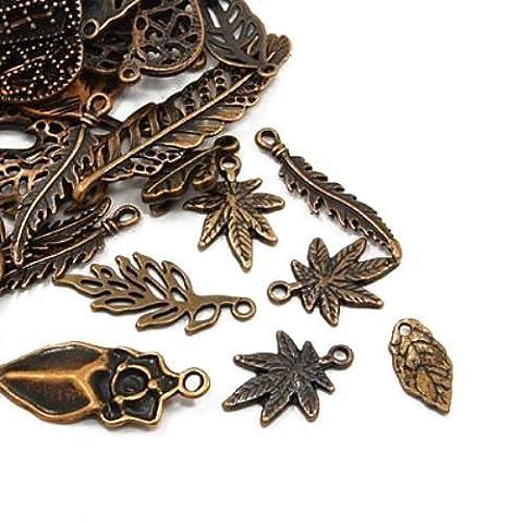 Paket 30 Gramm Rot Kupfer Tibetanische ZufälligeMischung Charms (Blatt) - (HA07470) - Charming Beads
