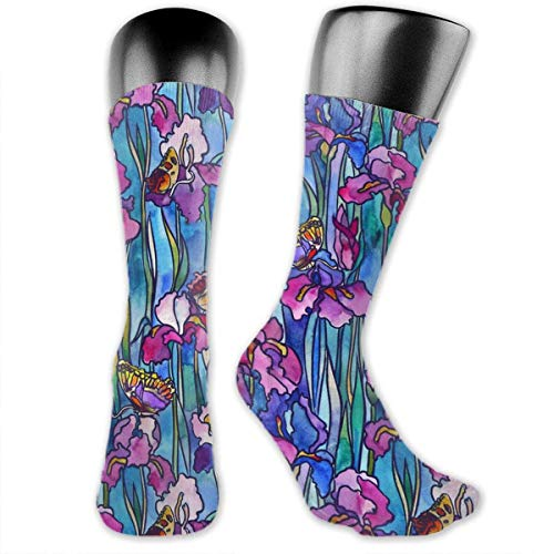 Drempad Luxury Sportsocken Stained Glass Butterfly Pattern Socks For Men Or Women, All-Season Casual Comfortable Soft Mid Calf Crew Socks - Butterfly Stained Glass
