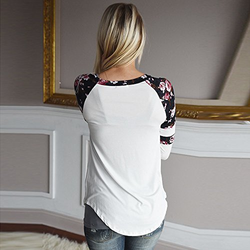 Letter Chemisiers, Femmes Floral Splice Impression à manches longues Col rond Pull T-Shirt Tops Lady Fille Casual Loose Fit Coton Softstyle Tops Blouse Solid Bottoming T-shirt Blanc