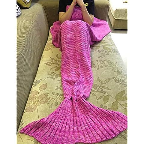 Tail Mermaid Coperta fatto a mano morbido Sacco a pelo uncinetto Maglieria Soggiorno Trapunta Tutte le stagioni Divano rannicchiarsi Tappeto Migliore Moda Compleanno Natale Regalo