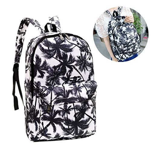 BouBou Canvas Coconut Palm Tree Print Schulter Rucksack Frauen Schule Reisetaschen