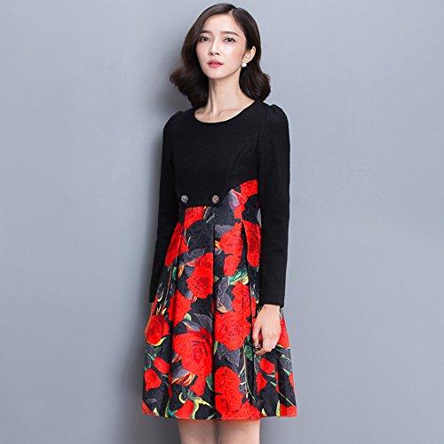 CU@EY 2017 Neue Rundhals Langarm Kleid bedruckt, schwarzes Muster, L (Out Of Print Kostüm Muster)