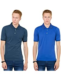 Thriller Frog Solid Men's Polo Neck Navy Blue And Blue T-Shirt