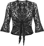 Fashion 4Less Coprispalle da donna lustrini pizzo motivo floreale nodo bolero top taglie forti 44–58 Black 42