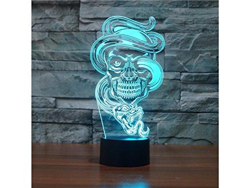 AHIMITSU Dekoratives Licht 3D Nette Alien LED Licht Figur Illusion 7 Farbwechsel Smart Touch USB Tisch Schreibtischlampen Schlafzimmer Nachtlicht