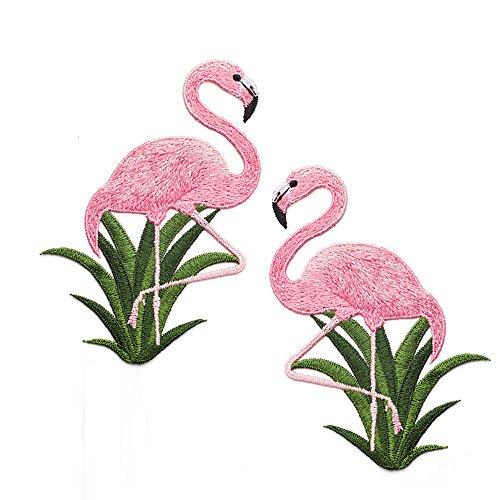 (Feelaa Kleidung Aufnäher DIY Patch Applikation Stickerei für Jeans, Jacken, Hosen (Flamingo))
