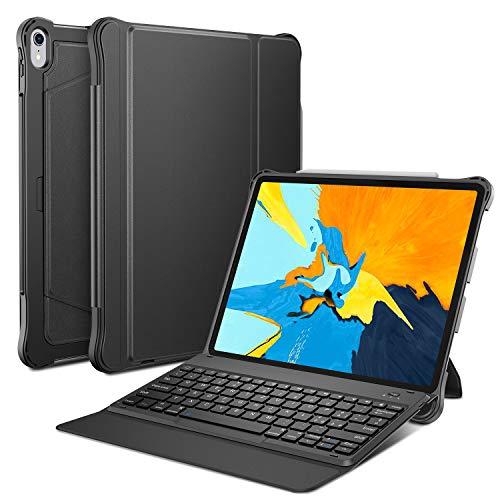 OMOTON Custodia con Tastiera Bluetooth Compatibile con Nuovo iPad PRO 12.9 (2018) - Tastiera Wireless Rimovibile per Nuovo iPad PRO 12.9 - Layout Italiano - Ultra-Sottile e Leggera - Nero