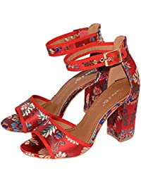 Damen High Heels Blockabsatz Rot Satin Optik im Asia Style Stiletto Pumps Absatz Trendschuhe Sommer Offen 2018
