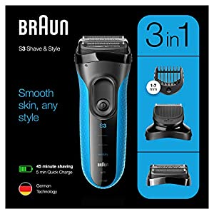 Braun Series 3 Proskin Shave&Style 3010BT 3-in-1 Electric Shaver, Wet & Dry Razor for Men with Precision Beard Trimmer and 5 Combs, Rechargeable and Cordless Shaver, Black/Blue