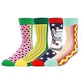 WYTartist, Kleidung für Männer, coole, farbige, lustige, zwanglose, gekämmte Socken, 4 Paare - in Geschenkebox, Hot Dog