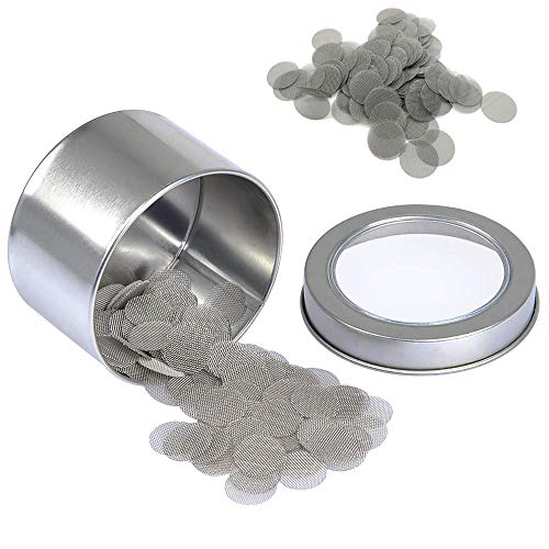 Schneespitze 200 Stück Pipe Filter Edelstahl Rauchfilter Screen Rohr Filterung,Pfeifensiebe Stahlsiebe Metallsieb Shisha Filter,mit Aufbewahrungsbox