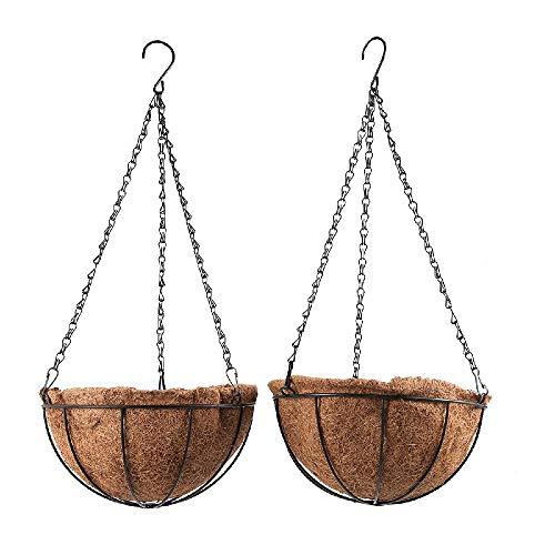 Dyna-living Pot de Fleur Suspendu Suspension Plante Panier d'extérieur en Fibres de Noix de Coco et Fer Décoration Murale