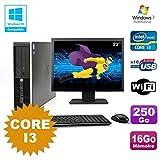Pack PC HP Compaq 6200 Pro SFF Core i3 3.1GHz 16 GB 250GB DVD WIFI W7 + Bildschirm 22