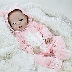 ZIYIUI 18 Pulgadas Cuerpo Completo Reborn Baby Doll Sin muñeca de Pelo Mira Real Cuerpo Completo de Silicona Hecho a Mano Regalos de bebé