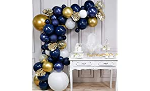 PartyWoo Navy and Gold Balloon Arch Kit, 67 pcs of 5 Gold Leaves, Giant Gold Balloon, Giant White Balloon, Navy Blue Balloons, White Gold Confetti Balloons, Gold Metallic Balloons for Navy Gold Party