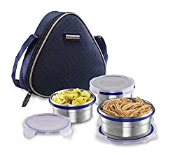 Smart lock Classic Steel Airtight Tiffin pack with insulated Bag, (2 x200 ml and 1x 400), Silver, Set of 3