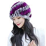SSMENG Winter Hats Clearance, Women Winter Knit Warm Flexfit Hat Ski Baggy Slouchy Beanie Skull Cap(Purple,Free Size)