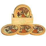 Handicrafts Paradise Real Gemstone Pine Wood Ragini Plucking Flower Design Coaster (10.2 cm x 5.1 cm x 8.9 cm)