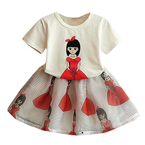 Janly Baby Mädchen Kid Kurzarm Cartoon Print Tops + Rock Outfits Set Kleidung 11-15 Kinder-Cartoon-Mädchen mit Kurzarm-Shirt + Zweiteiliger Rock (120, Weiß)
