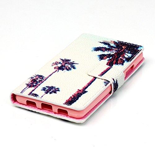 Voguecase® Pour Apple iPhone 5C Coque, Etui Housse Cuir Portefeuille Case Cover (nice day/doigt)de Gratuit stylet l'écran aléatoire universelle noix de coco/blanc