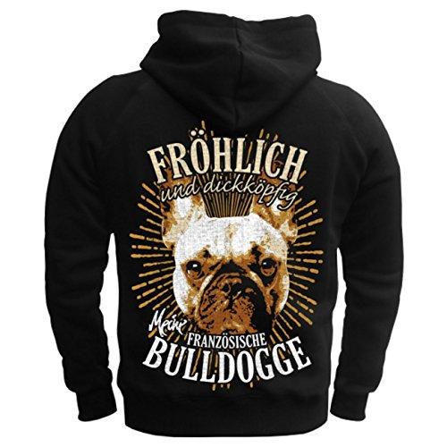 Männer und Herren Kapuzenpullover Französische Bulldogge - fröhlich und dickköpfig (mit Rückendruck) Schwarz