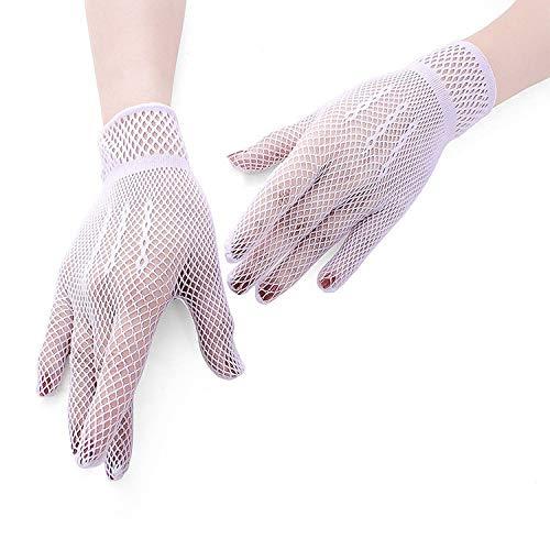 3 Paar Netzhandschuhe 80er Custome Zubehör für Frauen Braut Hochzeit Handschuhe Party Phantasie Kostüme (Color : White)